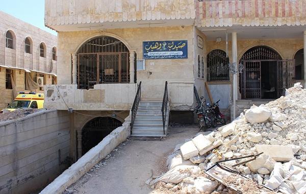 Foto: Kafr Zita hospitalet i Idlib i Syrien, der i marts måned var mål for raketangreb.