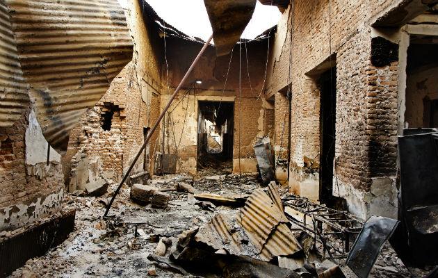 Det sønderbombede indre af hospitalet i Kunduz, Afghanistan.