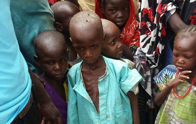 En dreng er alvorligt underernæret i de nigerianske by Bama, som Læger uden Grænser har fået adgang til.