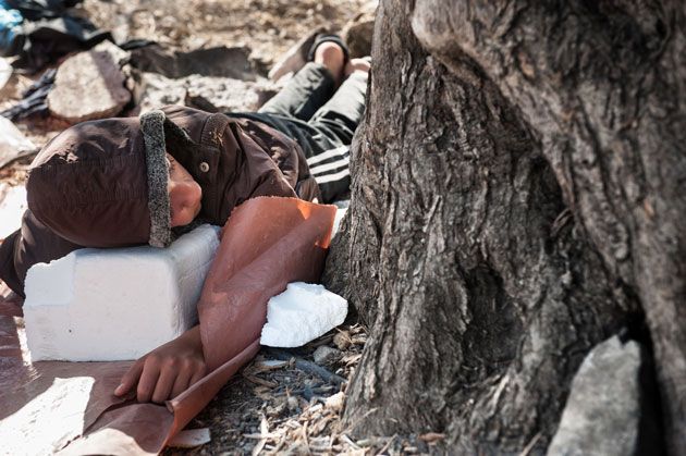 En syrisk flygtning sover under et oliventræ i flygtningelejren Kara Tepe