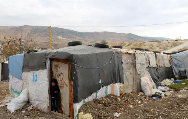 Billedet viser et eksempel på de kummerlige levevilkår, der er gældende for mange syriske flygtninge i Bekaa-dalen.