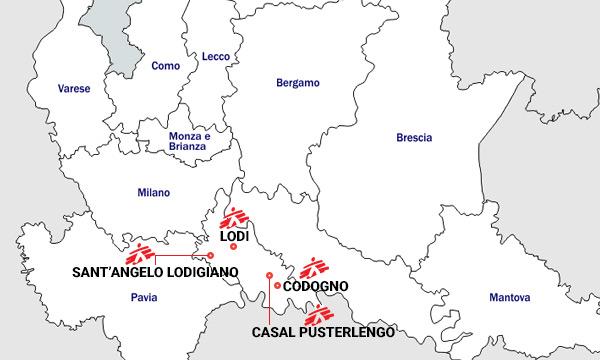Læger uden Grænser (MSF) hjælper Italien med behandling af patienter med coronavirus på fire hospitaler, som ses på kortet.