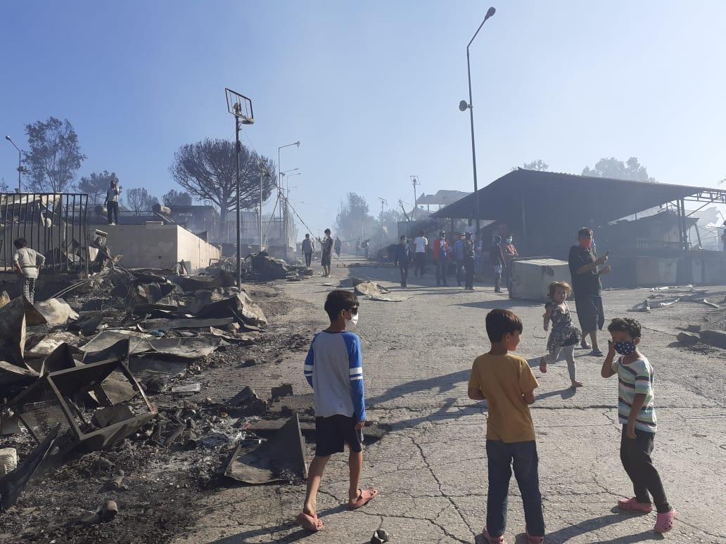 Brand i flygtningelejren Moria
