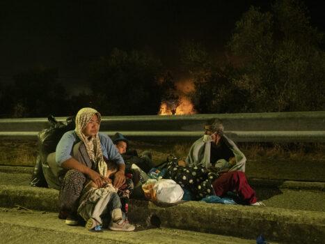 Brand i flygtningelejr Moria