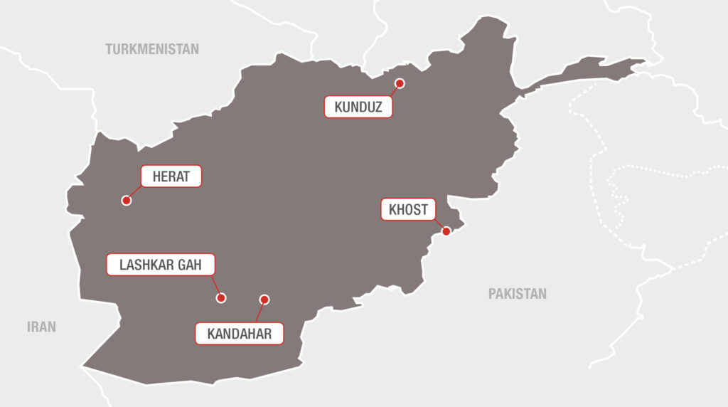 Kort over Læger uden Grænser i Afghanistan